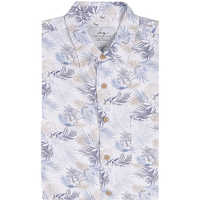 Bamboo Fibre Blue Palm Short Sleeve Shirt