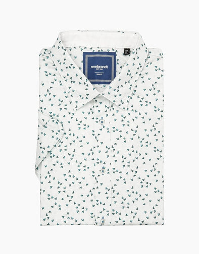 Waihi White Print Short Sleeve Shirt