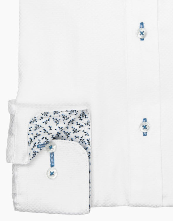 Barbican Long Sleeve Shirt - White Textured Cuff Detail