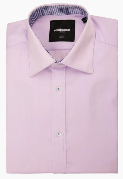 Lilac Cuff Detail Barbican Long Sleeve Shirt