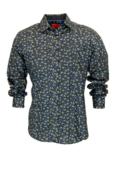 R.F. Scott Caleb Ginkgo Leaf Print Long Sleeve Shirt