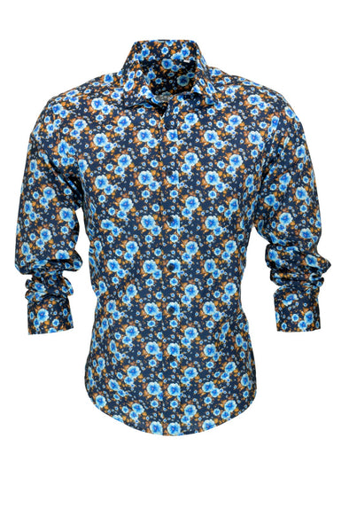 R.F. Scott Caleb Neon Blue Floral Long Sleeve Shirt