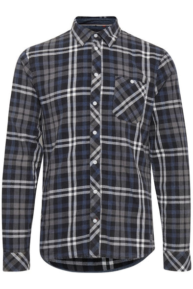 Blend Navy & Grey Check Long Sleeve Shirt