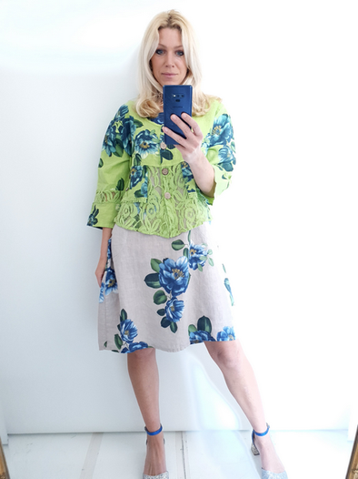 Helga May Amadeus Lace & Linen Jacket: Emma Rose - Neon Lime