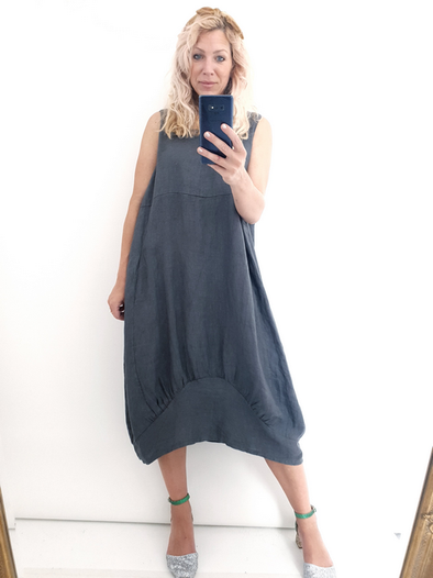 Helga May Maxi Dress: Plain - Charcoal