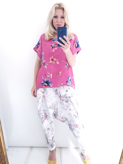 Helga May Box Tee: Falling Flower - Hot Pink