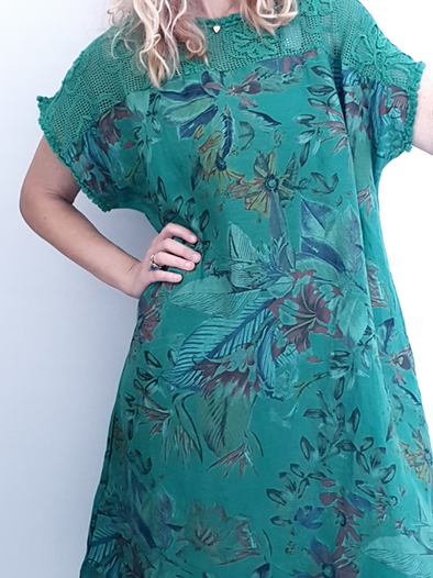 Helga May Tussock Dress: Tropical Rumble - Green