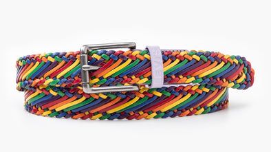 Levis Rainbow Pride Genuine Leather Braid Belt
