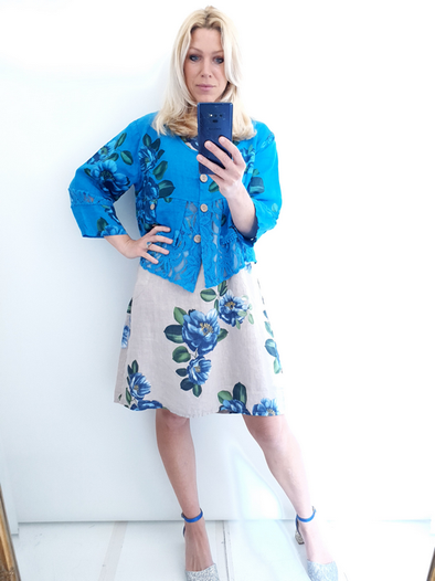 Helga May Amadeus Lace & Linen Jacket: Emma Rose - Dark Turquoise