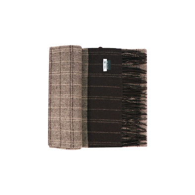 100% Lambs Wool Scarf - Chocolate Beige Herringbone Check