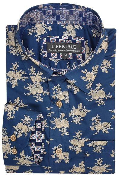 Lifestyle Navy & Beige Floral Print Long Sleeve Shirt