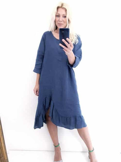 Helga May Samba Dress: Plain - Faded Navy