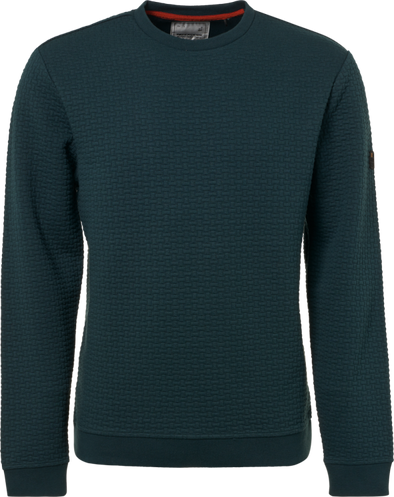 No Excess Sweatshirt Crew Neck Woven Detail - Dark Seagreen