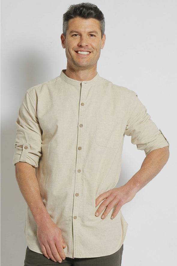 Hemp Grandpa Long Sleeve Shirt - Natural