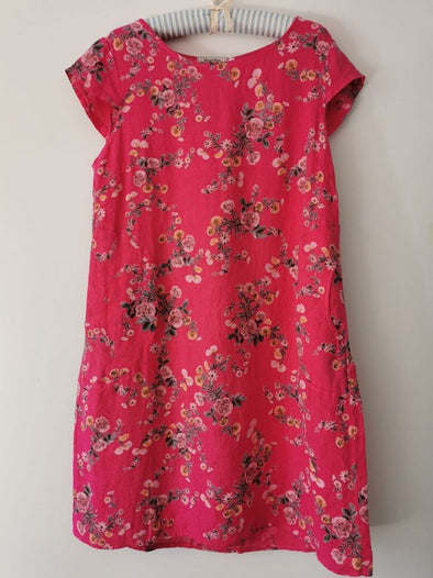 Helga May Kennedy Dress (SMALL) : Mini Bouquet - Hot Coral