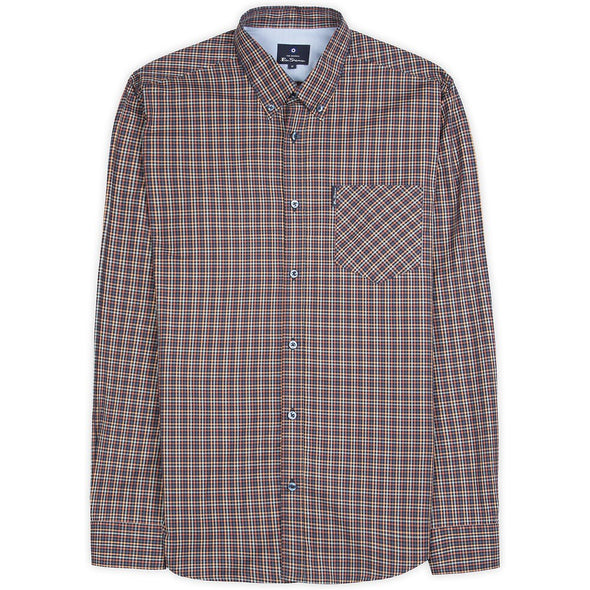Ben Sherman Mini Gingham Long Sleeve Shirt - Peach