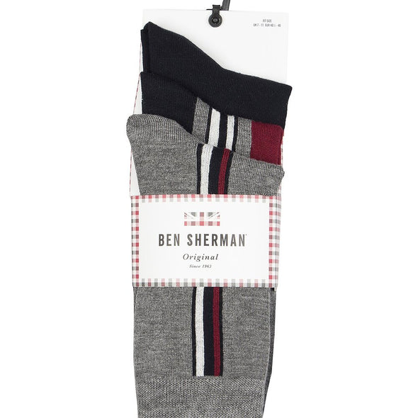 Ben Sherman 3 Pack Socks - Grundy Burgundy