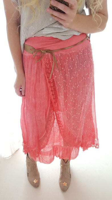 Helga May Lacey Daisy Skirt Coral