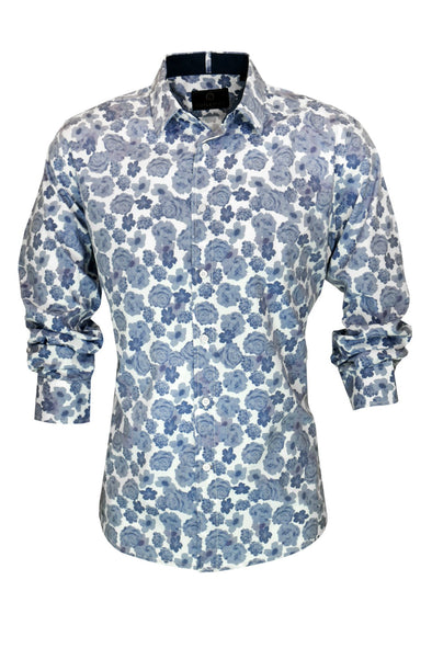 Cutler & Co Blake Blue Rose  Print Long Sleeve Shirt