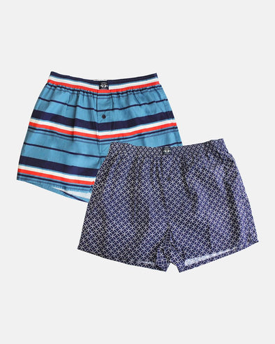 Woven 100% Cotton Boxer 2 Pack - Geo