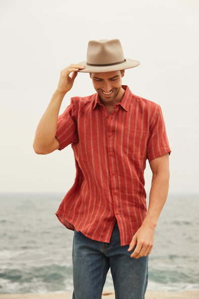 Braintree Hemp Short Sleeve Shirt - Striped Red Brick