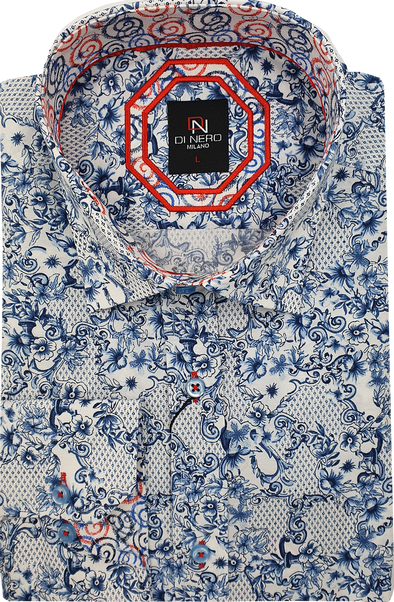 Di Nero Long Sleeved Shirt - Abstract Floral - Blue
