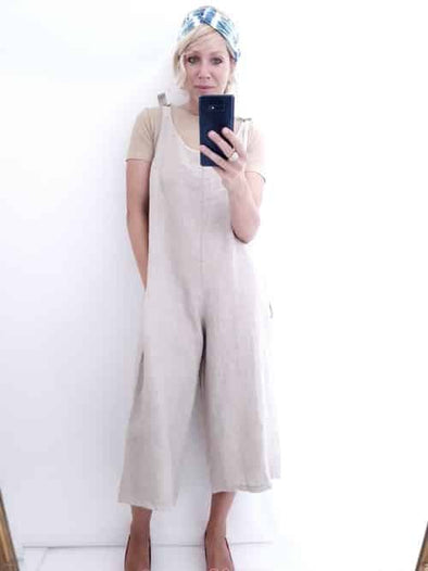 Helga May Linen Jumpsuit: Plain - Beige