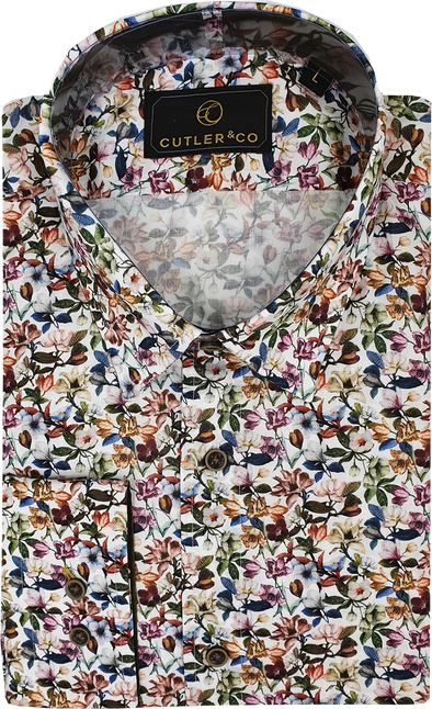 Cutler & Co Nigel Long Sleeve Shirt - Meadow Blossoms White
