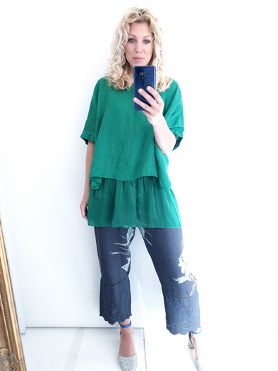 Helga May Linen & Silk Tee: Plain - Green