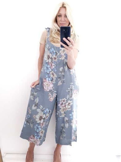 Helga May Linen Jumpsuit: Rolling Meadow - Pale Petrol