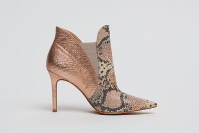 Hey Monday Romeo Snakeskin & Rose Gold Boot