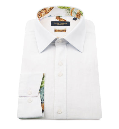 Guide London Long Sleeve Shirt - White Linen with Snake Detailing