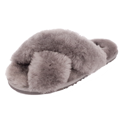 Rachel Sheepskin Cross Slide - Grey