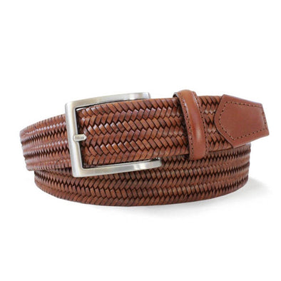 Woven Tan Italian Leather Stretch Belt