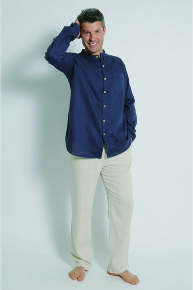 Hemp Grandpa Long Sleeve Shirt - Navy