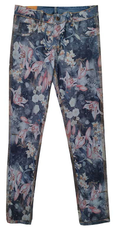 Womens Reversible Jeans - Navy & Lilies