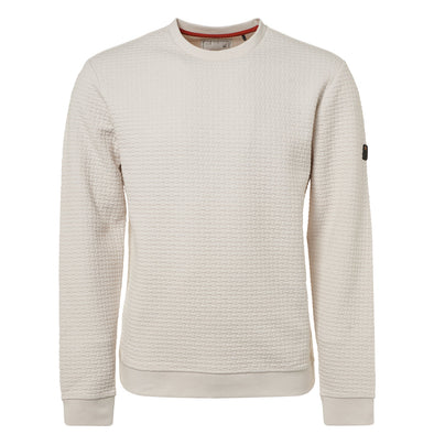 No Excess Sweatshirt Crew Neck Woven Detail - Chalk