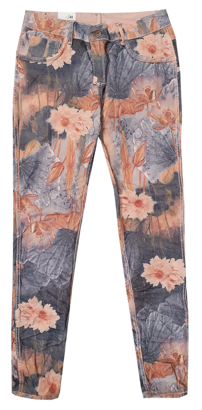 Womens Reversible Jeans - Pink & Water Lillie