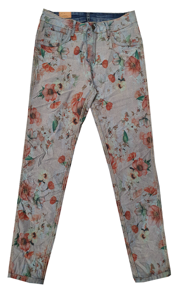Womens Reversible Jeans - Navy & Poppies