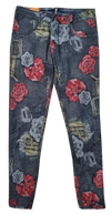 Womens Reversible Jeans - Navy & Roses