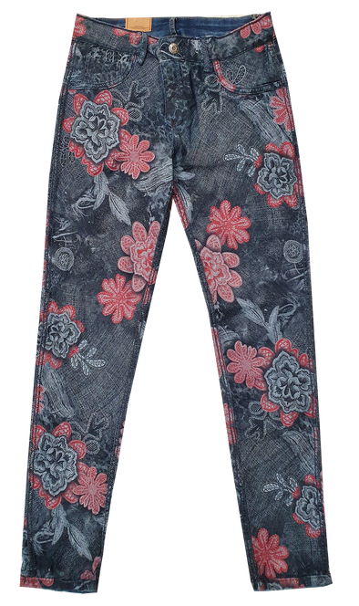 Womens Reversible Jeans - Navy & Stitch Flowers