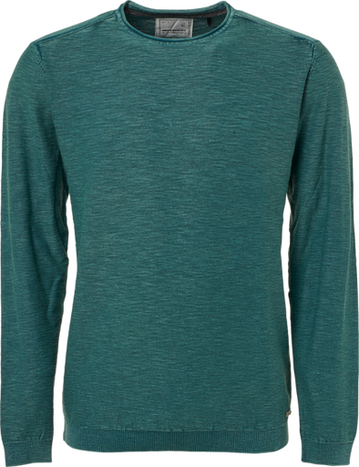 No Excess Sweatshirt Crew Neck 100% Knitted Cotton - Pacific