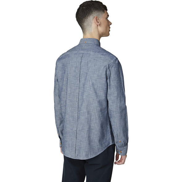 Ben Sherman Chambray Dark Navy Long Sleeve Shirt
