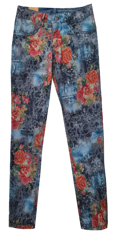 Womens Reversible Jeans - Navy & Rose Patches
