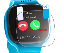 A clear screen protector being applied onto a Spacetalk Kids watch