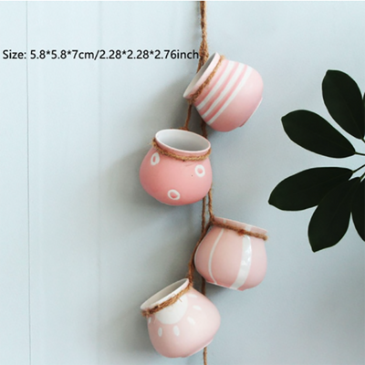 4pcs Wall-mounted Pink White Ceramic Hanging Flower Pots
