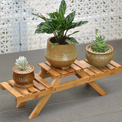 Bamboo Plant Flower Shelf Stand