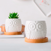 Ceramic White Owl Flower Pots With Bamboo Tray Holder (Set Of 2)