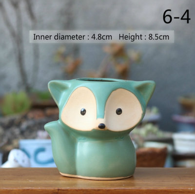 Handmade Fox Ceramic Flower Pot