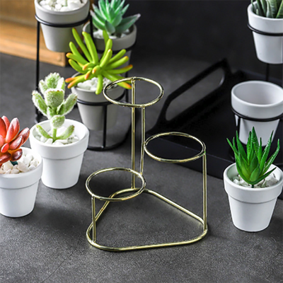 Mini 3 in 1 Pottery Planters With Metal Stand